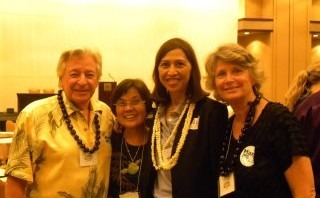 Judith and Michael Richards with Esther Kiaaina at Hawaii Democratic Convention