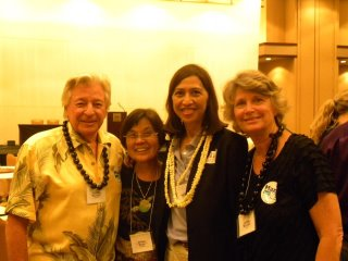 Judith and Richard Michaels with Esther Kiaaina at Hawaii Democratic Convention